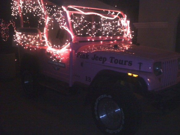 PInk Jeep with Christmas lights